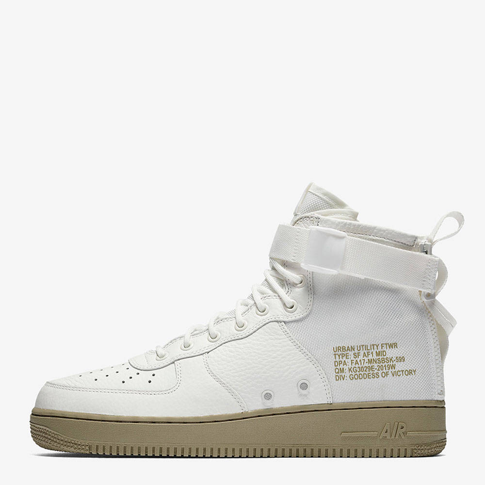 online store 1671c cd7ff Hot on the heels on the quickly sold out black version, The Nike SF-AF1 Mid  drops in this crisp clean Ivory colourway featuring olive Air Force 1 Sole  ...