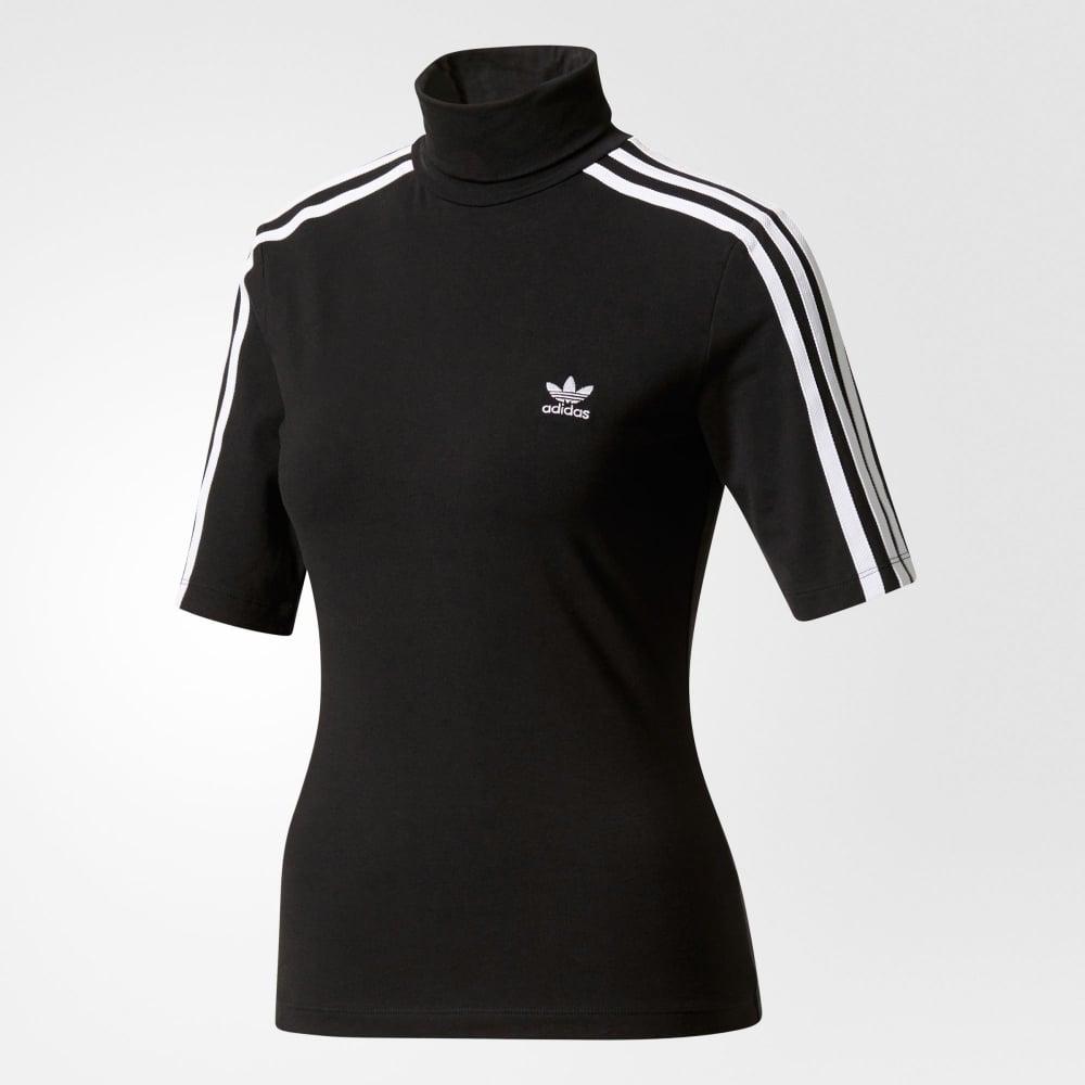 ae15a7ad5eea Adidas Originals 3 Stripes High Neck T-shirt - Womens Clothing from ...