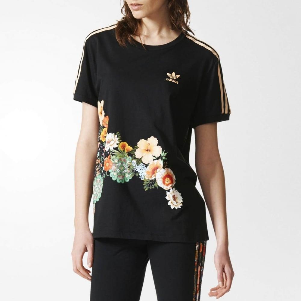 adidas x Farm Rio Jardim 3 Stripe Black T Shirt