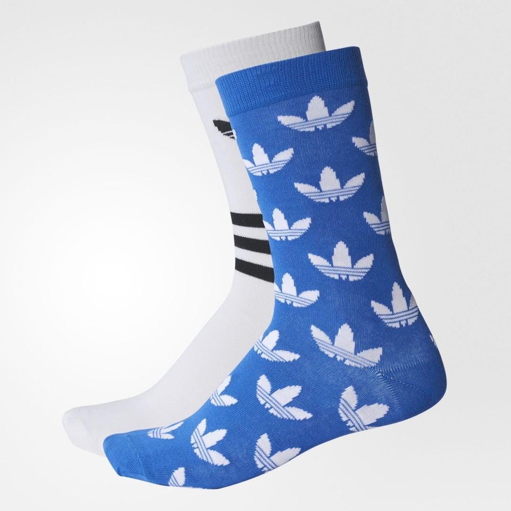 19561079533759 Adidas Originals Trefoil Crew Socks 2 Pairs - Mens Accessories from ...