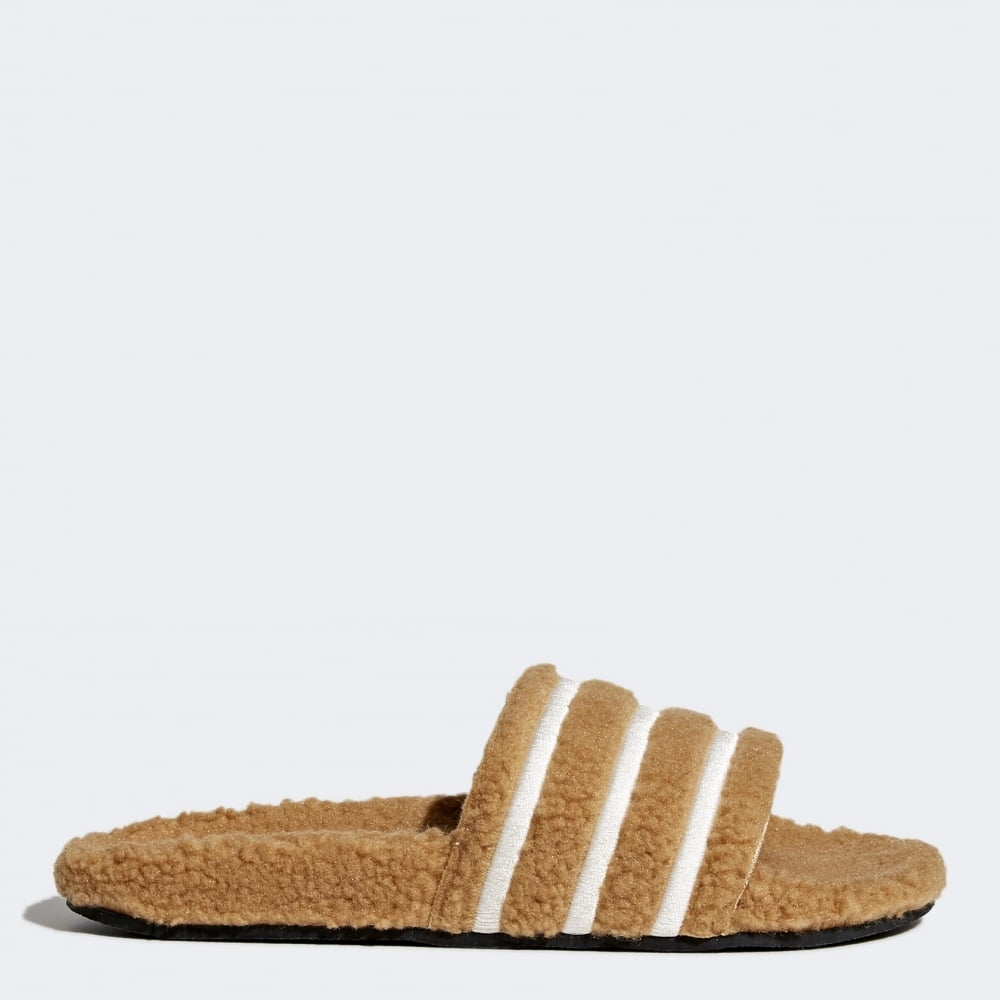 f9d64702c696 Adidas Originals Womens Adilette Slides - Teddy Fleece