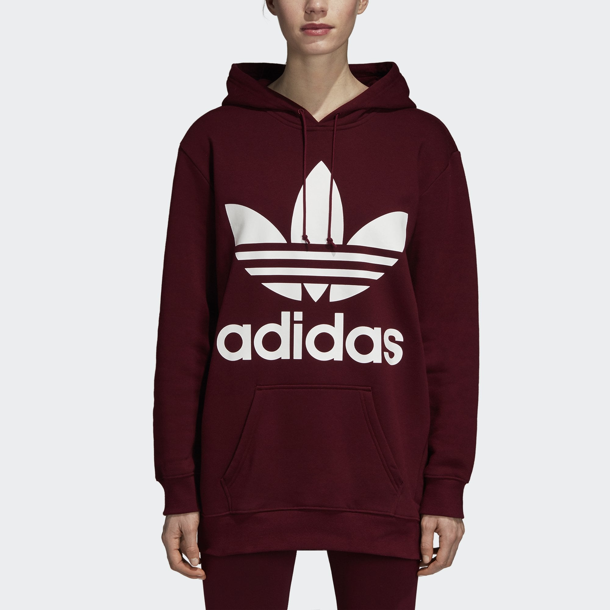 adidas Originals Women/'s Trefoil Hoodie Relaxed Fit Hooded Sweashirt Red /& White