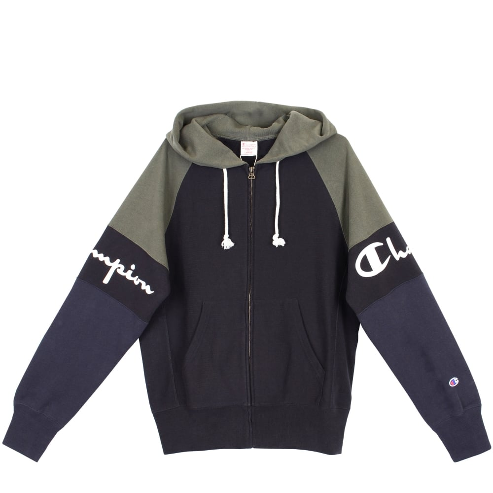 6263a7f9b7ff Champion Reverse Weave Colour Block Hooded Full Zip Sweat - Mens Clothing  from Cooshti.com