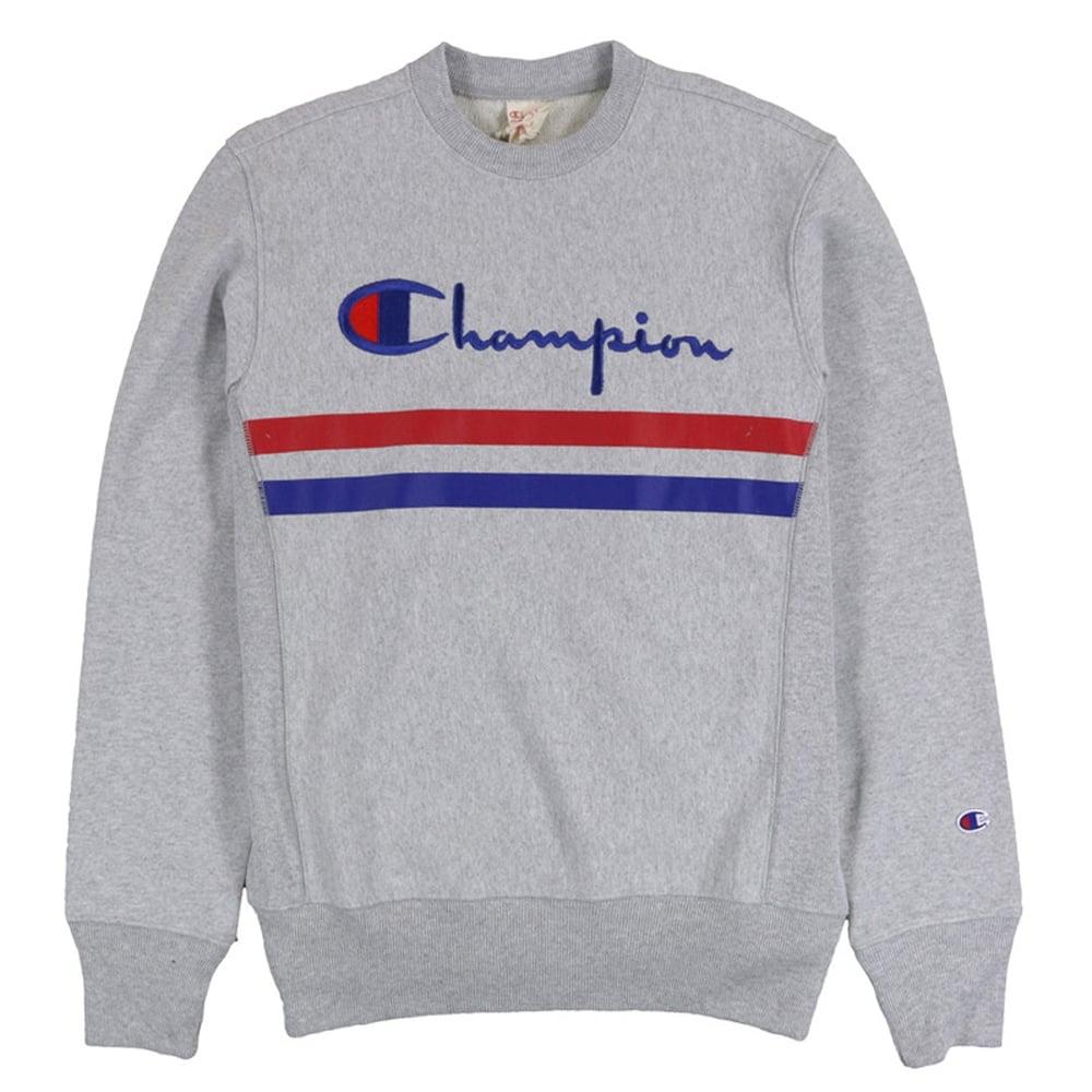 514d19fc7c03 Champion Reverse Weave Crewneck Sweat Logo + Stripes - Mens Clothing ...