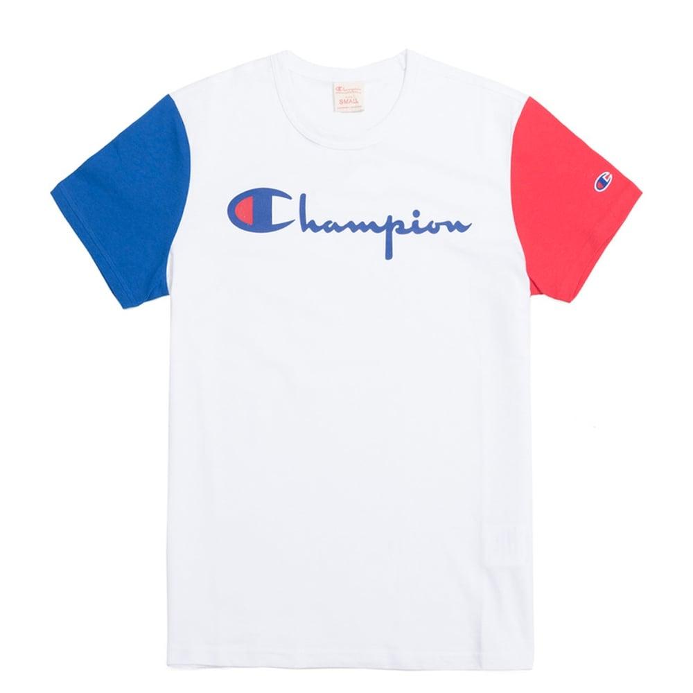 a68f69b1 Champion Reverse Weave Tri-Colour Script Logo Crewneck T-shirt ...