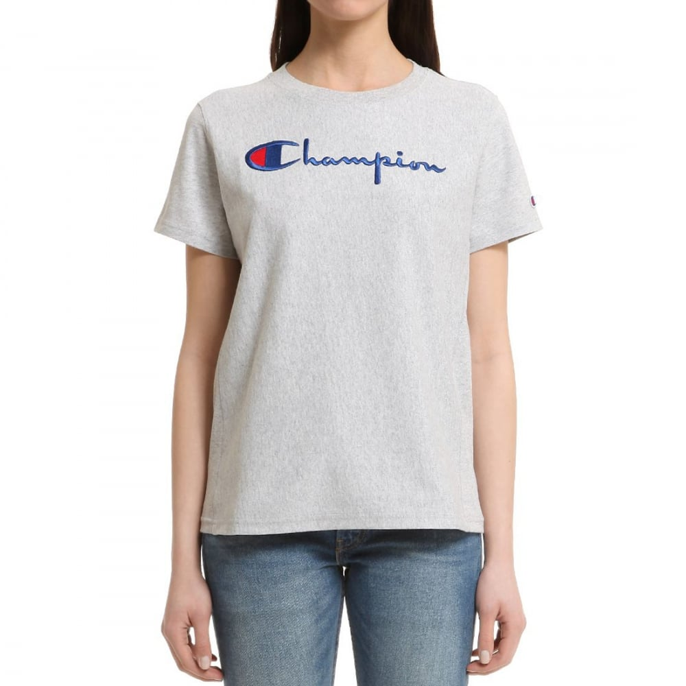 Champion reverse weave women 39 s crew tee script womens for Women s crew t shirts