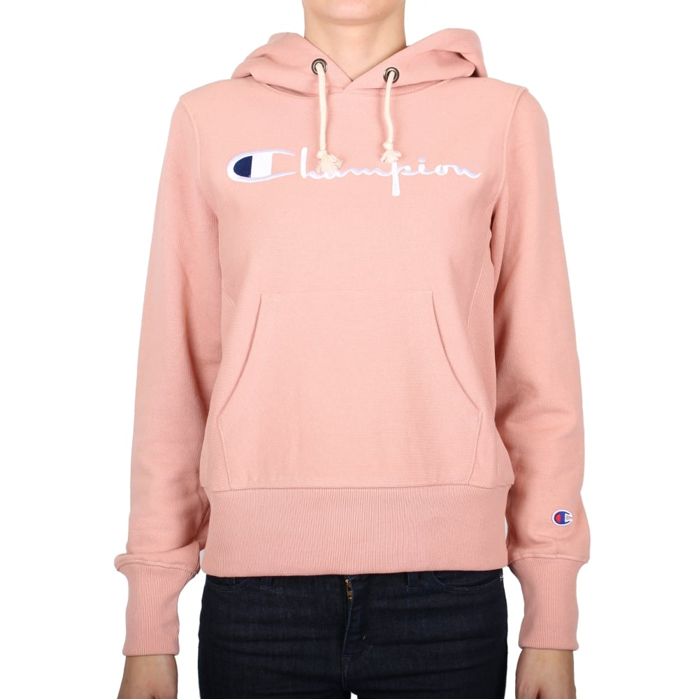 champion reverse weave womens hooded sweat script logo womens clothing from. Black Bedroom Furniture Sets. Home Design Ideas