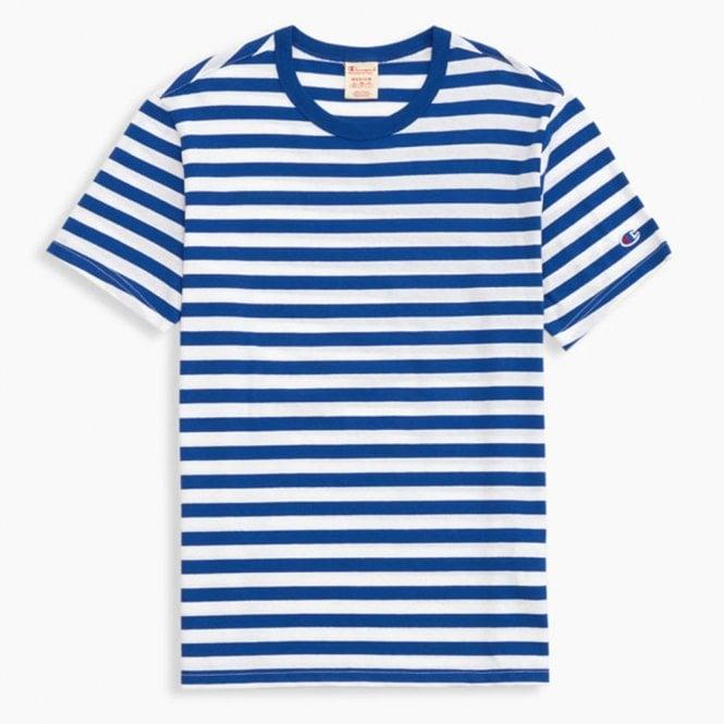 bd0557741a Champion Striped  C  Logo Patch Crew Neck T-Shirt - Mens Clothing ...
