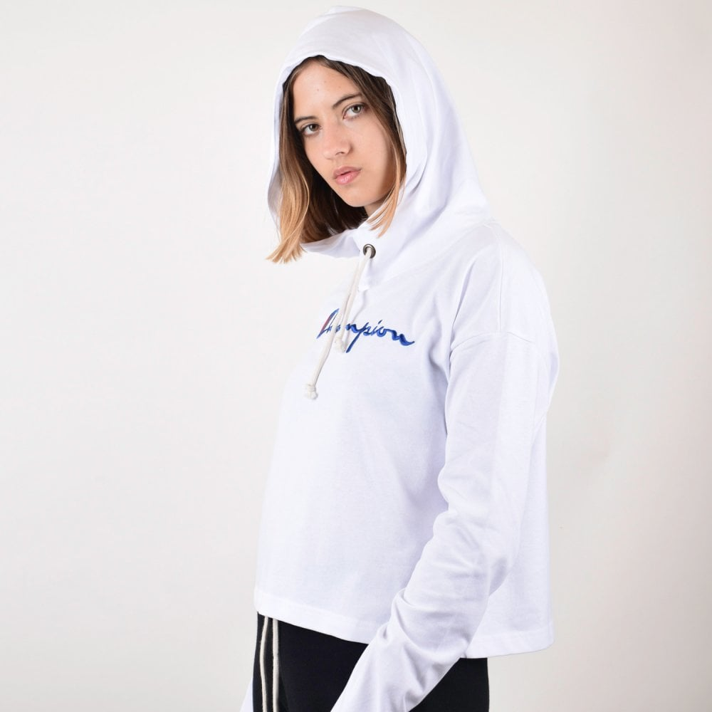 f0976eecc50e Champion Women s Cropped Jersey High Neck Hoodie - Embroidered ...