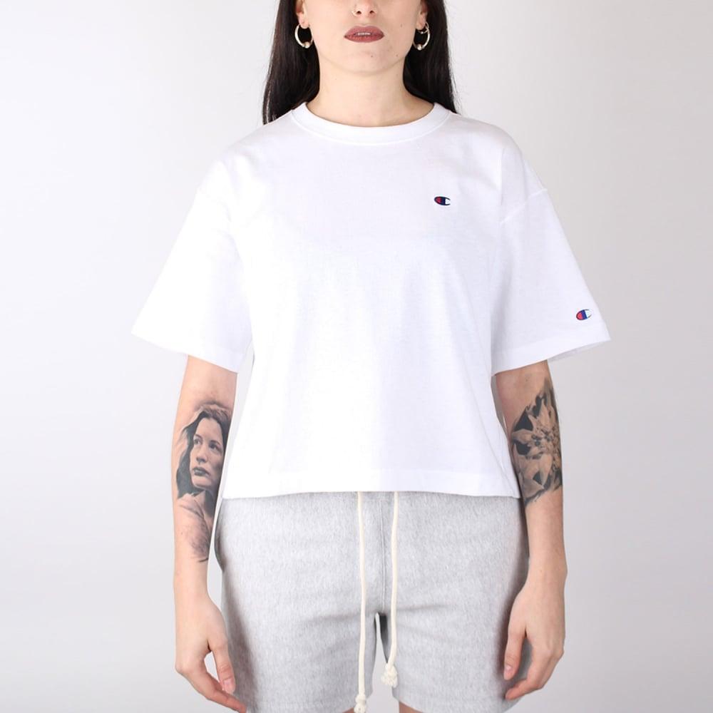 27759ec7e Champion Women's Reverse Weave Crop T-shirt Small C Logo - Womens ...