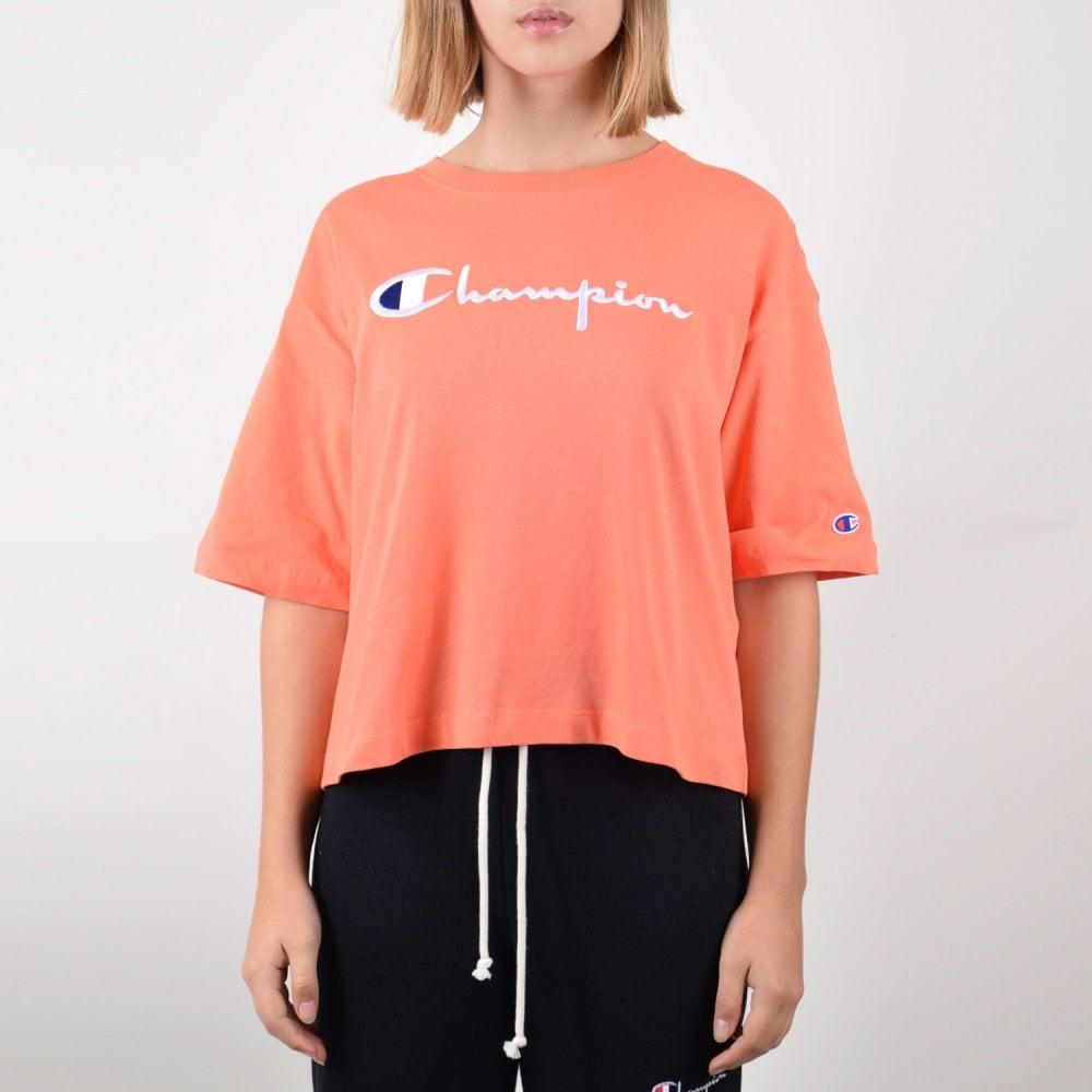 57b9e1b3c223 Champion Women's Reverse Weave Cropped Script Logo Maxi T-Shirt ...