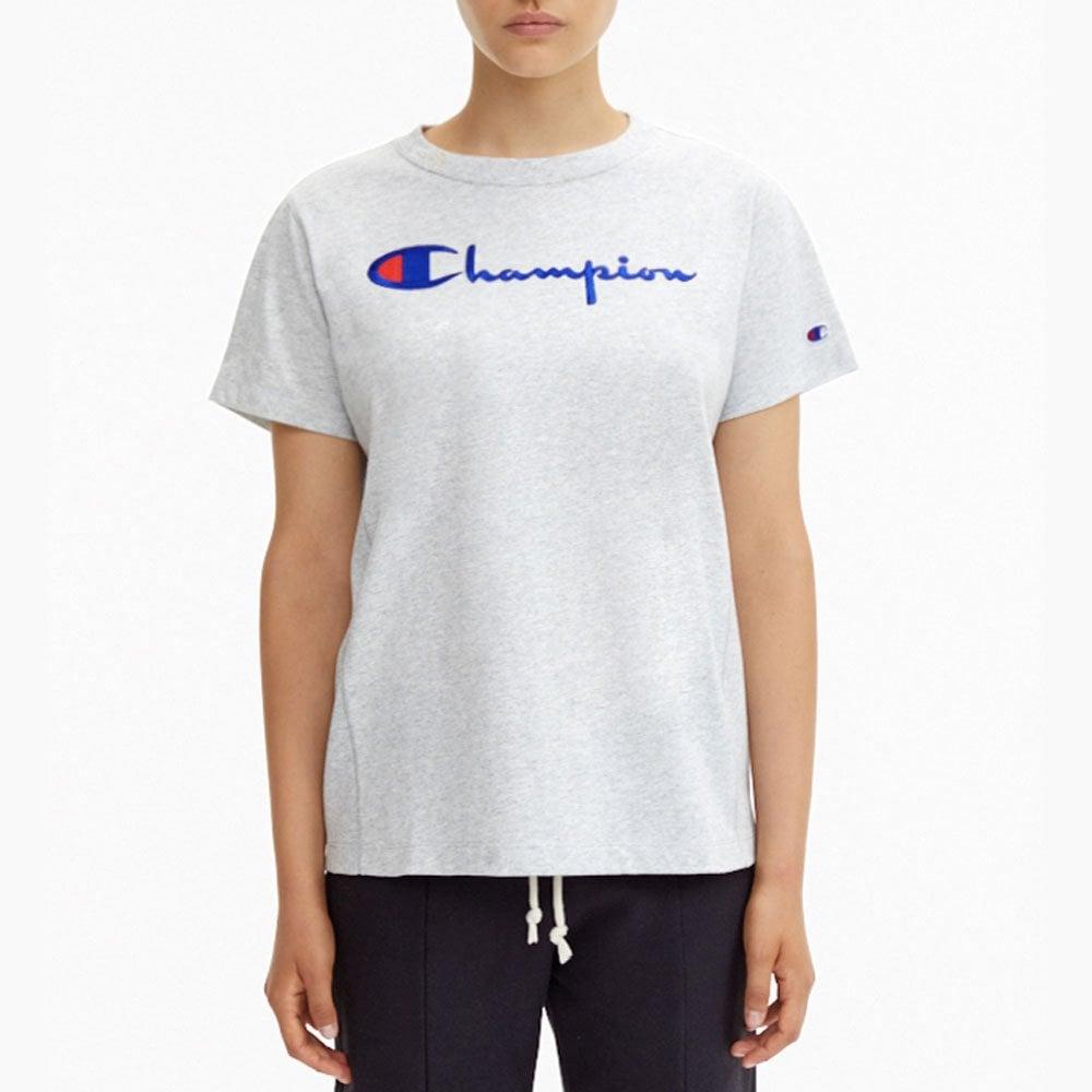 5a0628a5 Champion Women's Reverse Weave Script Logo Crew Neck T-Shirt ...