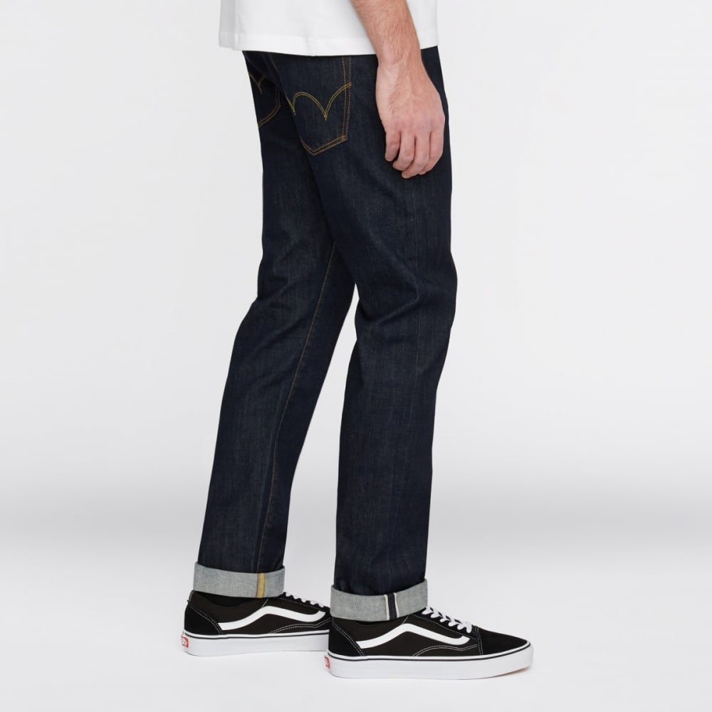 Blue Rinsed Edwin ED-80 Slim Tapered Red Listed Selvage Jeans